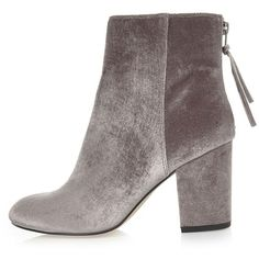 River Island Grey velvet block heel ankle boots ($80) ❤ liked on Polyvore featuring shoes, boots, ankle booties, grey, shoes / boots, women, ankle boots, grey high heel boots, grey bootie and grey booties