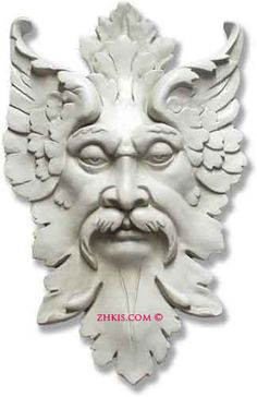 Gothic Stone Face Wall Plaque 3d Sculpture