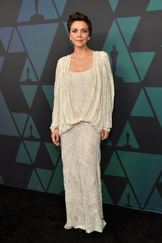 Maggie Gyllenhaal in Attico Governors Awards, Arrivals, Los Angeles, USA – 18 Nov 2018 Wearing Attico Elegant Dresses, Nice Dresses, Maggie Gyllenhaal, Hollywood Life, Red Carpet Dresses, Lace Skirt, Awards, White Dress, Celebs