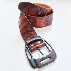 Vintage leather belt chunky buckle western style brown
