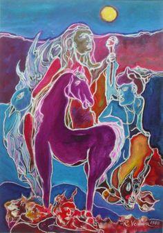"""Cavallo rosso """"cm.50x35 a.1989"""""""
