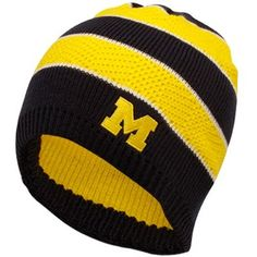 adidas Michigan Wolverines Ladies Navy Blue-Maize Striped Knit Beanie