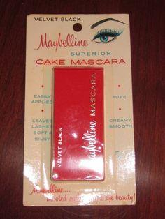 vintage maybelline cake mascara | Vintage Maybelline Cake Mascara 1950 60 NOC Unused Slide Velvet Black ...