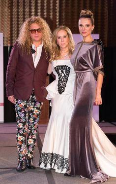 Fashion Designer Vasily Vein with Sophie Azouaou and Kate Paliakova, both wearing gowns by Vasily Vein