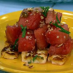 Grilled (or pan fried) Haloumi cheese and watermelon salad.  A cheese that doesn't melt on the grill or hot pan?  Oh boy, I can't wait to try this!