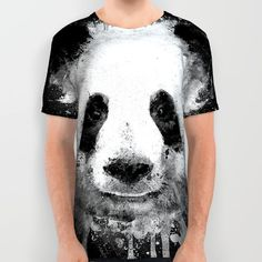 Cool Abstract Graffiti Watercolor Panda Portrait in Black & White All Over Print Shirt
