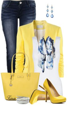 Yellow White Blue Jeans Outfit
