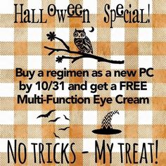 Don't miss this Fall Deal! Buy a Rodan + Fields Regimen by 10/31/16 and I will send you a FREE Multi-Function Eye Cream ($60 value). *ONCE YOU ORDER MESSAGE ME ON PINTEREST @ R+Fskincare101*.