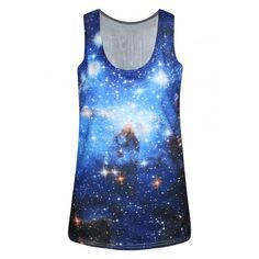 Blue Galaxy Print Scoop Neck Sleeveless Slim Tank ($16) ❤ liked on Polyvore featuring tops, shirts, slimming tank top, sleeveless tank, sleeveless shirts, no sleeve shirt and slimming tank