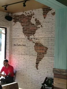 LOVE this idea with exposed brick and the map. painted brick wall LOVE this idea with exposed brick and the map. painted brick wall was last modified: February Deco Design, Cafe Design, Coffee Shop Design, Design Design, Interior And Exterior, Interior Design, Brick Interior, Exposed Brick, Restaurant Design
