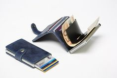 Secrid Miniwallet - Blau Leder
