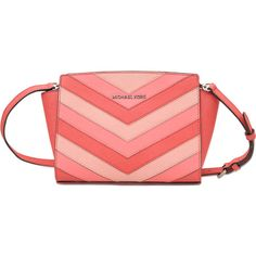 Michael Michael Kors Selma MD Messenger bag (285 NZD) ❤ liked on Polyvore featuring bags, messenger bags, pink, messenger bag, cross body messenger bag, detachable key ring, pink crossbody and red cross body bag