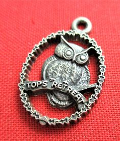 Tops Retreat Charm Owl Image Sterling Silver Bracelet Charm