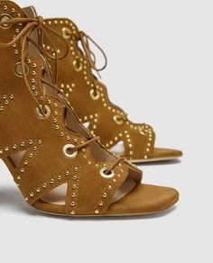 Image 7 of LEATHER LACE-UP SANDALS from Zara