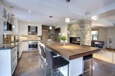 renovation-house-for-spruce-Rosemont-montreal-kitchen – Linda Leloire Toy Kitchen Set, Open Plan Kitchen, Kitchen Redo, Living Room Kitchen, New Kitchen, Kitchen Ideas, Beautiful Kitchens, Cool Kitchens, Living Room Remodel