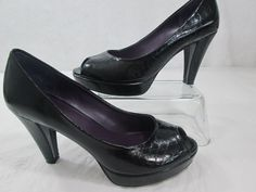 """MADELINE Gabean Shoes Black  3.5"""" Open Toe Pump Heel  Size 7 #Madeline #OpenToe"""