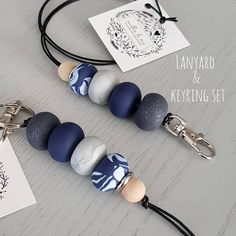 Items similar to lanyard and keyring DUO set teacher lanyard key lanyard teacher gift clay accessories polymer clay lanyard teacher keychain keyring on Etsy Polymer Clay Necklace, Handmade Polymer Clay, Polymer Clay Earrings, Clay Keychain, Beaded Lanyards, Polymer Clay Projects, Diy Schmuck, Creations, Jewelry Making