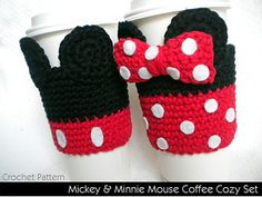 Pattern includes instructions to make BOTH Mickey & Minnie. Be original and stylish while you sip your coffee or Frappuccino! Make adorable cozies for everyone you know. Get started now and stock up for holiday gift giving. These are so fun to make, and also satisfying since they whip up so quickly