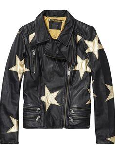 Chaqueta de piel con estrellas