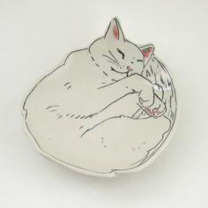Dessert Plate Kitty Kitten Cat porcelain von EarlyBirdDesignsShop