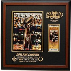 Caseworks Super Bowl XLIV Program and Ticket Brown Display Frame Each by Caseworks. $129.99. There are few sporting events that are more anticipated than the Super Bowl?. Display your program and ticket from the momentous game with this brown frame from Caseworks?. The mat is engraved with the Super Bowl? XLIV logo and the score.