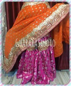 Pink kamkhwab Gharara with red kurti and Orange dupatta, beautifully matched laces. Order this gorgeous Gharara or customise colours as per your preference. TO ORDER: ☎️/Whatsapp 9971865919 ghararastudio@gmail.com #Gharara #ghararastudio #ghararadesgins #partygharara #pinkgharara #weddinggharara #bridalgharara #wedding #bride #indianbeauty #indiantradition #bollywood #fashion #style #class #royaldress #hotpink #colours #lookroyal #muslimbeauty #muslimwedding #pakistanigharara