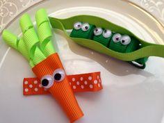 Peas and Carrots Hair Bow Clips - Toddler Hair Clip - Baby Hair Bow - Ribbon Sculpture - Infant Hair Clip -  Hair bow - Green Orange. $9.50, via Etsy.