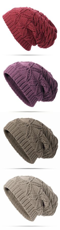Women Warm Soft Solid Double Knitting Beanie Cap Winter Outdoor Snow Leisure Stripes Bonnet Hats #fashion #style #hat #accessories