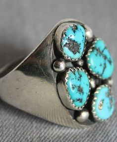 $150 Sleeping Beauty Turquoise Cigar Band Ring, Jewelry by Navajo