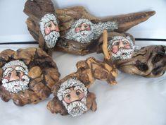 hand painted driftwood Santa