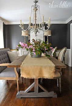 Dear Lillie dining room is a vision of modern with a rustic French style that makes this dining table chic and current. Dark Grey Dining Room, Dining Room Walls, Dining Room Furniture, Dear Lillie, Cozy House, Decoration, Family Room, Dining Table, Room Decor