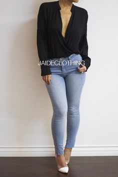 Casual Chiffon Black Drape Blouse Top