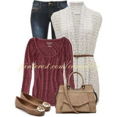 Belted Cardigan & Tory Burch Flats