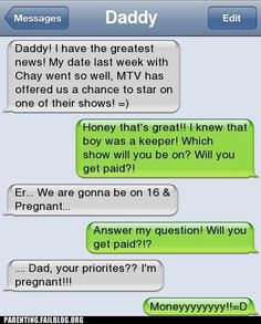 this is fake. If she was texting her dad, wouldnt HER texts be the ones in GREEN? I know that when I text me dad and it says DADDY at the top, my texts are the green ones... just sayin!! lol