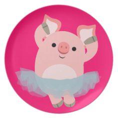 Cute Cartoon Ballerina Pig Plate by Cheerful Madness!! #cheerfulmadness #plate #kawaii #cute #cartoon #animation #comics #pig #ballerina