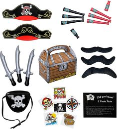 There are lots of ways to create an enjoyable and fun playtime for your kids without spending too much. Here at Edgewood Toys, we value practical and high quality toys that will surely catch your kid's attention! We believe that childhood memories involve interacting with friends and playing together to build lasting relationships. #partyflavors #gentlemanpirateclub #piratethemed #amazon #piratelovers Pirate Party Supplies, Pirate Party Favors, Pirate Birthday, Pirate Theme, Dinosaur Party, Unicorn Party, Storybook Party, Pirate Eye Patches, Pirate Tattoo