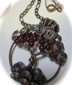 January Birthstone Tree of Life, Garnet with Antiqued Copper Tree of Life, Wearable Art