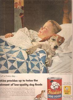1956 FRISKIES DOG FOOD Advertisement-Vintage Advertising via Etsy