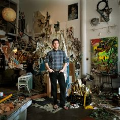 """Elliott HundleyLocated in a former factory building in downtown Los Angeles, this sculptor's studio (left) was a rainforest of creative detritus when W stopped by in 2007. Layered throughout were silk flowers, marble obelisks, peacock feathers, strings of beads— even reproductions of Old Master paintings. Hundley referred to it as """"a mulch pit."""" Photo: Amanda Marsalis"""