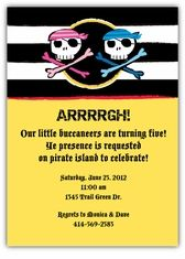 Silly Skull & Crossbones Girl-Boy Twins Birthday Invitation - Custom Twins Birthday Invitations from the leader in Twins & Multiples stationery products - www.amyscardcreations.com - Cards as low as $1.15 - Thank you for shopping with me and supporting small business!