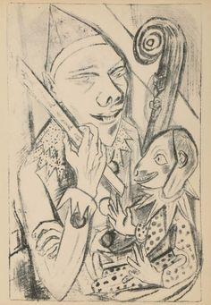 Max Beckmann 1884 Leipzig - 1950 New York - 'Pierrot und Maske' - Lithografie/Papier. 31 x 20,1 cm, 32,2 x 24,4 cm.