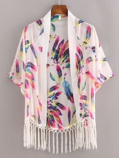 SheIn offers Macrame Fringe Feather Print Chiffon Kimono - White & more to fit your fashionable needs. Kimono Fashion, Hijab Fashion, Boho Fashion, Fashion Dresses, Chiffon Kimono, Print Chiffon, Floral Kimono, Kimono Cardigan, Kimono Jacket