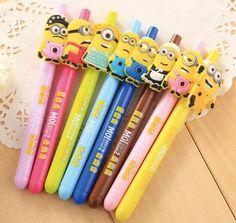 32 pcs/lot Minion gel pens for kids gift Cartoon black ink pen Zakka Stationery Office school supplies escolar canetas lapices