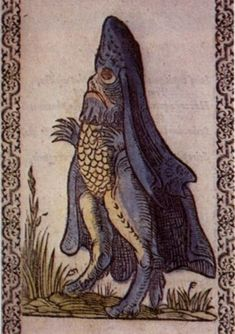 Bishop-Fish - a large, scaly creature with a fish-shaped body and a large fin which wraps around an animal like a clergyman's cloak. The head of the creature resembles a bishop's mitre, hence the name.