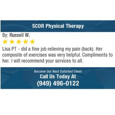 Lisa PT - did a fine job relieving my pain (back). Her composite of exercises was very...