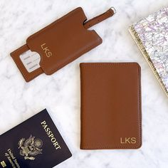 Shop for Personalized Brown Leather Passport Holder & Luggage Tag Set. Get free delivery On EVERYTHING* Overstock - Your Online Travel Accessories Shop! Get in rewards with Club O! Best Engagement Gifts, Monogram Shop, Nordstrom Anniversary Sale, Couple Gifts, Passport, Personalized Gifts, Brown Leather, Letter, What's Trending