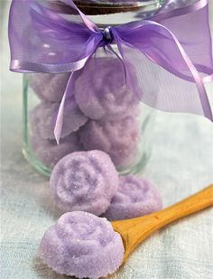 Lavender Flavored Sugar Flowers- Glass Sugar Jar with Mini Wooden Spoon for Tea Parties, Champagne Toasts, Favors, Coffee, Tea, Lemonade