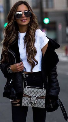 #spring #outfits white crop top, black ripped jeans, leather coat
