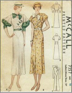 1930s Ladies Dress With Cross-Over Blouse Front and Fabulous Sleeve Options - Sewing Pattern - McCall #7357