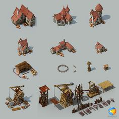 game development building on Behance Isometric Map, Isometric Design, Building Images, Building Art, Village Drawing, Buildings Artwork, Architecture Drawing Plan, Village Map, Fantasy Town